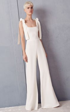 White Bow Sleeve White Flare Wide Leg Jumpsuit by Alexis | Moda Operandi