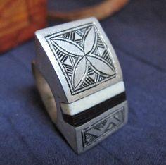 Tuareg Tribal Silver Ring with Ebony & Bone Inlay by TuaregJewelry, $138.00  Ineke Hemminga