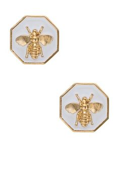 Enamel Bumble Bee Earrings by Fornash