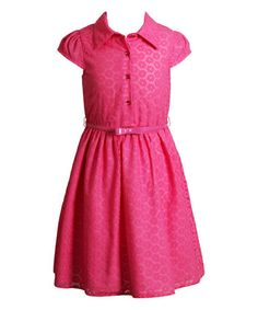 Love this Pink Floral Lace Belted A-Line Dress - Girls on #zulily! #zulilyfinds