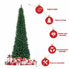 8Ft Pencil Christmas Tree PVC Unlit Artificial Slim Tree With Stand Home Decor #HomeDealsMarket #ChristmasNewYears Half Christmas Tree, Christmas Tree Prices, Pencil Christmas Tree, Christmas Tree Storage, Xmas Tree, Simple Christmas, Christmas Shirts, Christmas Stockings, Slim Tree