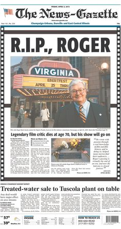 "An Ebertfest photo from Champaign, Illinois's News-Gazette beneath ""R.I.P., ROGER"""