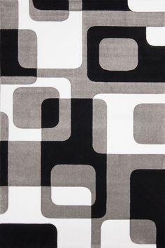 Teppich retro  Designer Teppich in Grau Schwarz Weiss Retro Design Top Qualität ...