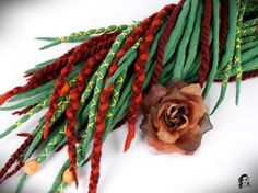 Full Set Wool Dreadlocks  Autumn Leaf  35 DE SALE !  Type: Double Ended, some of them crosses, braids, and twists Material: Worsted wool, thread, wood beads Method: Felted, handmade Pieces in set: 35 Lenght: 30-40 inch (80-100cm) - 15-20inch (40-50cm) folded in half Thickness: 0.39-1.18 inch (1-3cm) Color: dirty green, brown chestnut, terra (colors threads: yellow shades)      Wool dreadlocks have many advantages:  * Light – does not weigh hair and does not harm them * Resistant - do not…