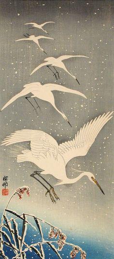 Herons in Snow Ohara Shōson (Koson) (Japan, 1877-1945) Japan, 1925 Prints; woodcuts Color woodblock print Image: 14 3/4 x 6 9/16 in. (37.47 x 16.67 cm); Sheet: 15 5/8 x 6 15/16 in. (39.69 x 17.63 cm) Gift of Chuck Bowdlear, Ph.D., and John Borozan, M.A. (M.2000.105.142) Japanese Art