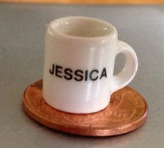 Itsy Bitsy Cermic Mug Coffee Cup Name Jessica Miniature Dollhouse Collectible Knick Knack Darling! by MarveltyVintage on Etsy