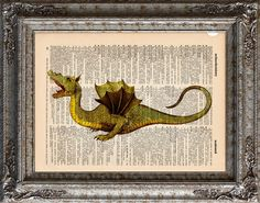 New to EcoCycled on Etsy: Medieval Dragon 2 on Vintage Upcycled Dictionary Art Print Book Art Print Recycle Mythical Beast (10.00 USD)