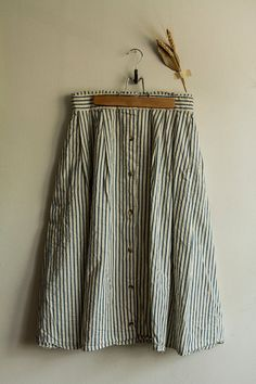 Vintage 90's striped button down midi skirt by TLVBirdie on Etsy