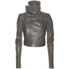 Rick Owens Cropped Leather Jacket ($2,208) ❤ liked on Polyvore featuring outerwear and jackets