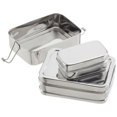 The stainless steel ECOlunchbox Three-In-One has two stacking compartments and a small inner box to keep cut fruit separate; $24.