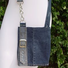 denim purse chain buckle handmade handbag fun unique upcycled by catbangles