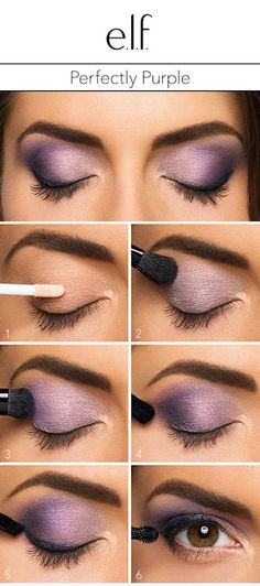 "Create this perfectly purple look with the e.l.f. Cosmetics Baked Eyeshadow Trio in Lavendar Love. 1. Start with a primer to give your bold eyeshadow look a boost. 2. Swipe the lightest shade across the entire lid. 3. Brush the middle color into the outer half of the lid. 4. Use a crease brush to create a ""v"" with the darkest shade of the trio in the outer most corner of the lid. 5. Line lashes with a cream liner in black and finish the look with mascara. Shop the trio at elfcosmetics.com"