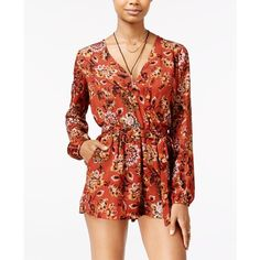 Be Bop Juniors' Faux-Wrap Romper ($25) ❤ liked on Polyvore featuring jumpsuits, rompers, red romper, playsuit romper and red rompers