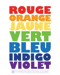 Rainbow Colors in French  11x14 Art Print by TypePosters on Etsy, $18.00