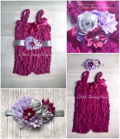 plum berry Petti romper, Plum berry Lavender silver gray headband. Lavender plum gray baby headband. Fall outfit by ALittleTouchofGrace on Etsy https://www.etsy.com/listing/272543546/plum-berry-petti-romper-plum-berry