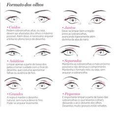 O formato dos olhos ajudam a definir o estilo de sombrancelha a ser desenhada.