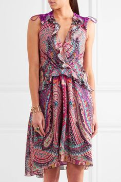 Etro - Ruffled Floral-print Silk Dress - Pink - IT44