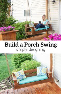 Super Ideas how to build a pergola diy porch swings Diy Pergola, Building A Pergola, Building Plans, Porch Bench, Diy Porch, Diy Patio, Porch Swings, Patio Ideas, Chair Bench