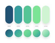 Flat Color Palette, Green Colour Palette, Green Colors, Blue Green, Pantone Colour Palettes, Pantone Color, Web Minimalista, Ui Color, Gradient Color