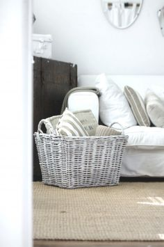 Like the idea of pillows in this beach cottage coastal basket