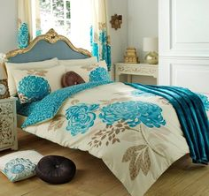 Duvet Cover With Matching Curtains , Fitted Sheet And Pillow Cases Bumper Set King size Quilt Bedding Set Reversible Poly Cotton Printed ,Grandeur Teal: Amazon.co.uk: Kitchen & Home