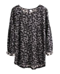Leopard Print T-shirt with Long Sleeves