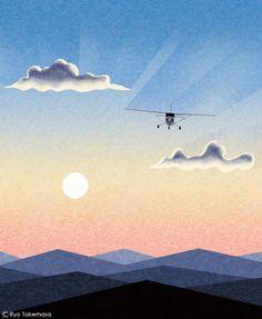 Sightseeing flight Framed Art Print by Ryo Takemasa - Vector Black - MEDIUM Japan Illustration, Graphic Design Illustration, Bird Poster, Print Poster, Japanese Prints, Illustrations And Posters, Landscape Art, Framed Art Prints, Illustrators