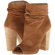 Kristin Cavallari Laurel Slouch Bootie (Dark Camel Kid Suede) Women's... (€125) ❤ liked on Polyvore featuring shoes, boots, ankle booties, ankle boots, platform bootie, open toe bootie, suede bootie, suede boots and platform boots