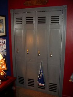 Bifold doors turned into lockers for sports room (great idea for boys closet doors)