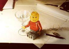 Amazing Illusion lego drawing - New Ideas 3d Pencil Art, 3d Pencil Drawings, Cool Drawings, 3d Art, Lego Man, Art Graphique, Henri Matisse, Art Design, Design Ideas