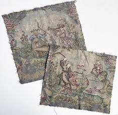 Pair Antique Silk Embroidery Tapestry Panels, Ready for Making Pillows - Late 1700s to Early 1800s How To Make Pillows, Tapestries, Chinoiserie, Needlepoint, Decorative Pillows, Textiles, Pairs, Fancy, Wool