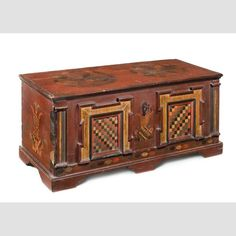 """DOWER CHEST/ Attributed to Johannes Kniskern, 1778, paint on pine, with iron hasp, key, and hardware, 19 3/4 × 47 × 21"""", gift of Ralph Esmerian, 2013.1.31. Photo credit: Gavin Ashworth"""