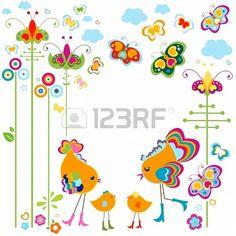 Carte d'oiseaux de mode avec les fleurs colorées et les papillons Banque d'images - 20300440