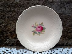 "Vintage Spode's ""Billingsley Rose"" Butter Pat, 3 5/8"", Spode Jewel Copeland Spode, Serving, Red/Pink Transferware, Butter Dish by CottonCreekCottage on Etsy"