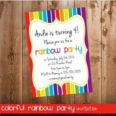 Rainbow Party Invitation Invitation for a by WithFlairPrints Rainbow Birthday Party, 1st Birthday Girls, Birthday Ideas, Birthday Parties, Rainbow Party Invitations, Little Land, Birthdays, Colorful, Etsy