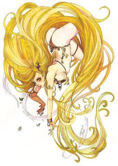 "Art from ""Final Fantasy IV"" by manga artist Sakizou."