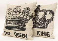 "Set of 2 Cotton linen crown decorative couple pillow case/ cushion cover 16""-18"""