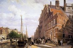 Voorburgwal in Amsterdam by Cornelis Springer
