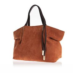 Tan brown suede pinched side tote bag £70 #riverisland #70s