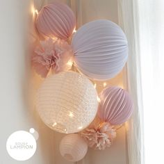 Pale pink and white baby room: wall decoration with pompons and lanterns Paper Lanterns Nursery, Wall Ornaments, Lanterns Decor, Rustic Baby, Baby Bedroom, Bedroom Wall, Master Bedroom, Woodland Nursery Decor, Little Girl Rooms