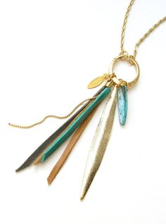 Bird of Paradise Gold Feather and Leather Tassels Long Necklace by zozichic on Etsy, $89.00