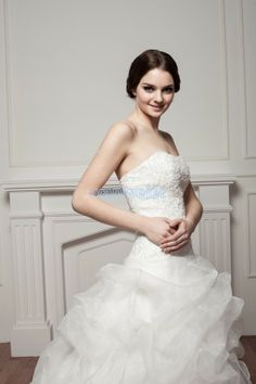 Organza Train Sweetheart White Ball Gown Wedding Dress With Lace(ZJ7294)