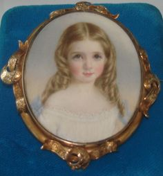 Antique Hand Painted watercolor Portrait miniature Named sitter by Annie Dixon Brooch Pin