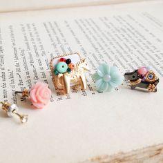 Set of 5 Happy zoo stud earrings