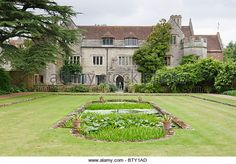 Athelhampton House, Garden Pond and Lawns - Stock Image