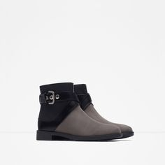 FLAT ANKLE BOOTS WITH BUCKLE-Ankle boots-Shoes-WOMAN | ZARA Morocco