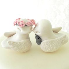 Reserved - Love Birds Wedding Cake Topper, Ivory Blush Pink and Grey, Bride and Groom Keepsake, Fully Custom, $65.00