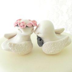 Reserved - Love Birds Wedding Cake Topper, Ivory Blush Pink and Grey, Bride and Groom Keepsake, Fully Custom, $65.00