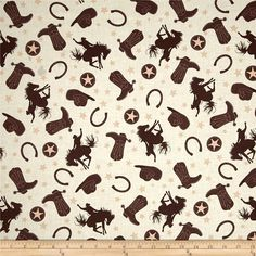 Riley Blake Rodeo Rider Rodeo Main Cream from @fabricdotcom  Designed by Samantha Walker for Riley Blake, this cotton print fabric is perfect for quilting, apparel, and home decor accents. Colors include peach, cream, and shades of brown.