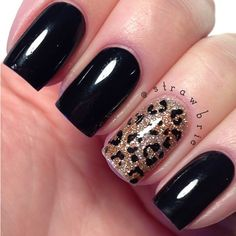 Leopard accent nail art!